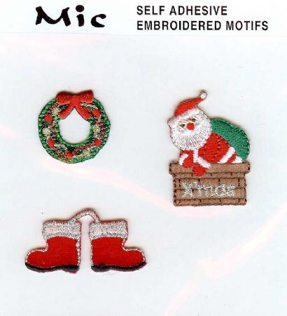 3 Father Christmas Self Adhesive Embroidered Motifs